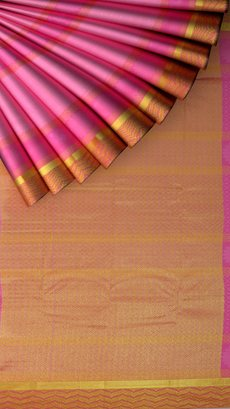 Kanchipuram Saree with Vanki border with mustard and pink with Self Embossed Design-yespoho