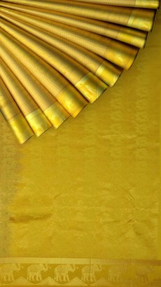 Kanchipuram Saree with Elephant equal border with mustard color border with Self Embossed Design-yespoho