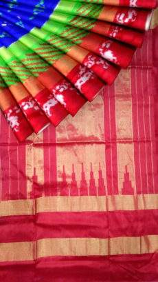 Blue and Tomato Red Pochampally silk saree-yespoho
