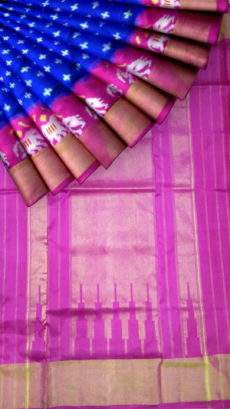 Blue and pink Pochampally silk saree with traditional pallu-yespoho