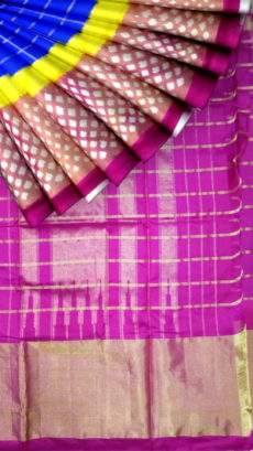 Pink and blue Pochampally silk saree with plain border-yespoho