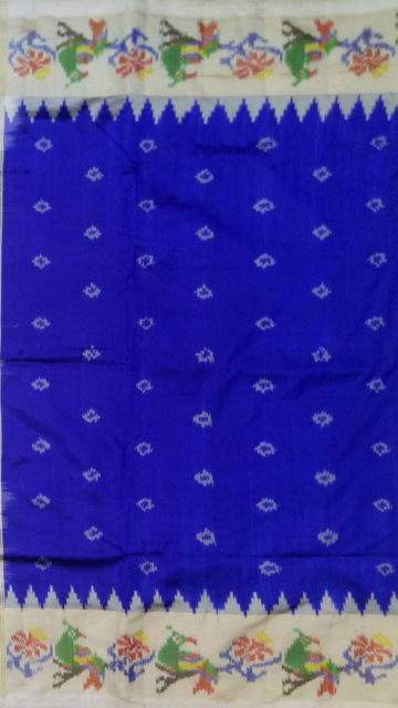 Yespoho Blue and off-white Pochampally saree with peacock design