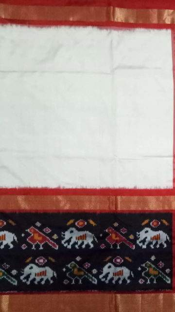 Yespoho Off white Pochampally saree with kaddi border pattern