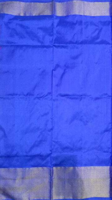 Shop Blue and pink Pochampally silk saree with traditional pallu Online