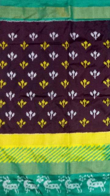 Yespoho Pochampally Ikkat saree with Green and deer border
