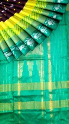Ikkat saree with Green Color and deer border and flower pattern