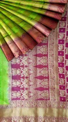 Green and Magenta Fancy Banarasi weaved from Silk Mix-yespoho