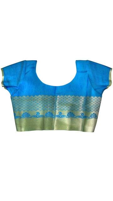 Modern Ananda Sky Blue Silk Mix with Unstitched Blouse