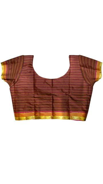 Arni saree with Striped pattern and Maroon and Multicolor with Unstitched Blouse