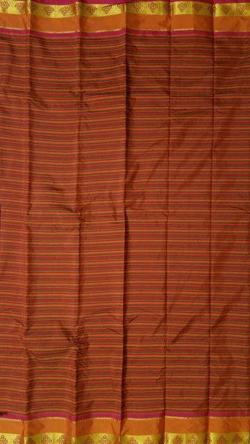 Yespoho Arni saree with Striped pattern and Maroon and Multicolor