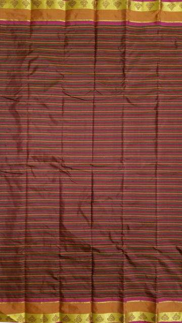Maroon Arni saree with Striped pattern and Maroon and Multicolor