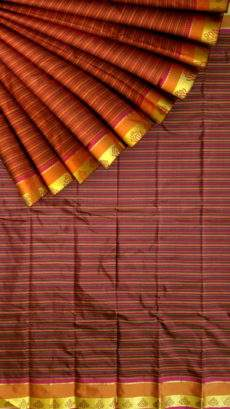 Arni saree with Striped pattern and Maroon and Multicolor-yespoho