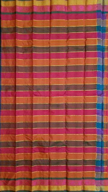 Multicolor Extravagant Multicolor Arani with Stripes pattern