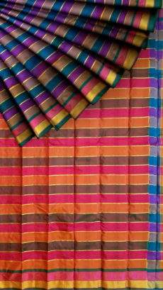 Extravagant Multicolor Arani with Stripes pattern-yespoho