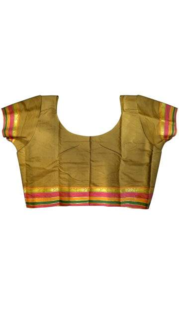 Fancy Multicolored Stripes on a Contrast border Silk Saree with Unstitched Blouse