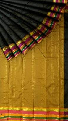 Fancy Multicolored Stripes on a Contrast border Silk Saree-yespoho
