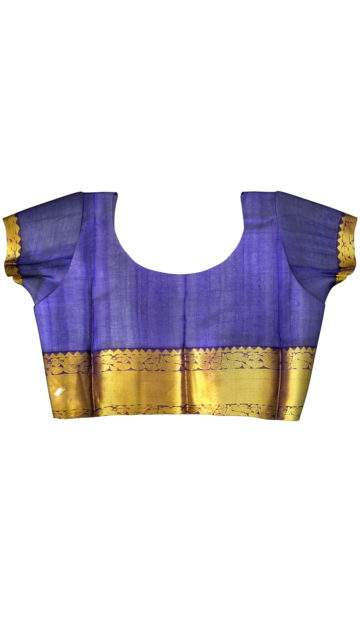 Genuine Yellow and Blue Kuppadam Silk Saree with Unstitched Blouse