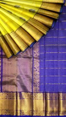 Genuine Yellow and Blue Kuppadam Silk Saree-yespoho