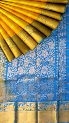 Brilliant Ananda Sky Blue and Golden Yellow Kuppadam Silk Saree-yespoho