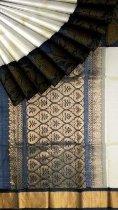 Black and Offwhite Kuppadam Silk Saree-yespoho