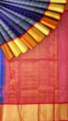 Ethnic Royal Blue and Tomato Red Kuppadam with Checks pattern-yespoho