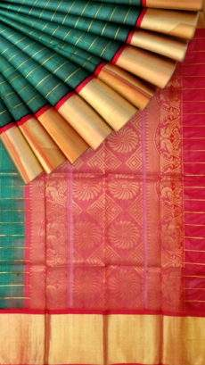 Brick Red and Dark Green Kuppadam Silk Saree-yespoho