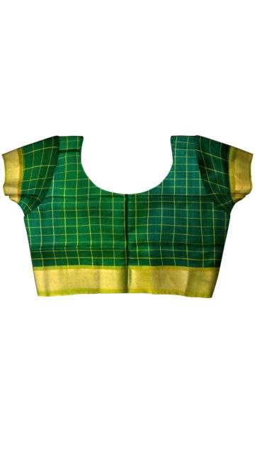 Bottle green Uppada Saree with checks with Unstitched Blouse