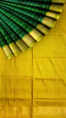 Bottle green Uppada Saree with checks-yespoho