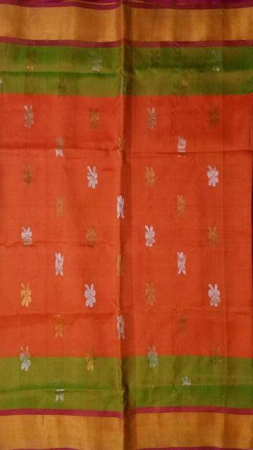Yespoho Orange with Contrast pink with Butta Uppada silk saree