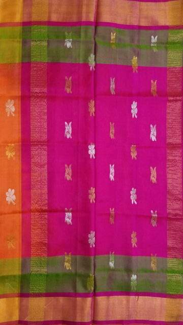 Green Orange with Contrast pink with Butta Uppada silk saree