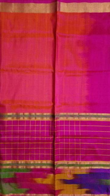 Yespoho Pink and Orange Uppada Silk Saree