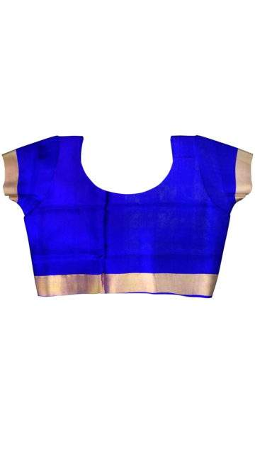 Royal blue with Gold zari border Uppada silk saree with Unstitched Blouse
