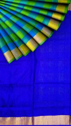 Royal blue with Gold zari border Uppada silk saree-yespoho
