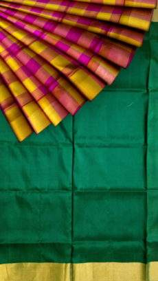 Bottle green and magenta Uppada Saree with checks-yespoho