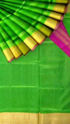 Parrot green Uppada Jamdani saree with plain pattern-yespoho
