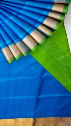 Ananda sky blue and parrot green Uppada soft silk saree-yespoho