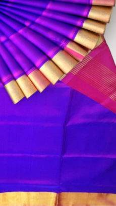 Magenta and Violet Plain Uppada Soft Silk Saree