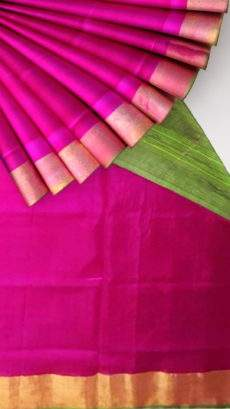 Green and Magenta Uppada Soft Silk Saree