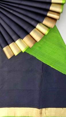 Black and green Uppada soft silk saree with plain pallu-yespoho