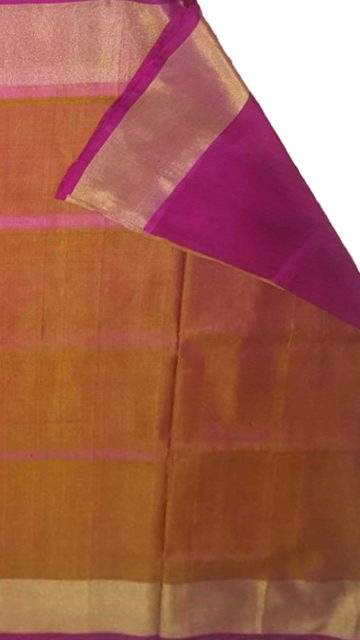 Magenta Mustard and magenta Uppada soft silk saree with plain pattern