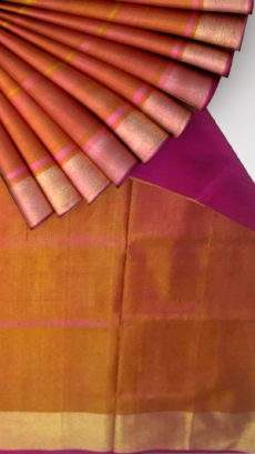 Mustard and magenta Uppada soft silk saree with plain pattern-yespoho