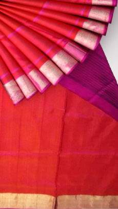 Magenta and red Uppada soft silk saree with plain pallu-yespoho