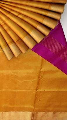 Mustard and pink Uppada soft silk saree with plain pattern-yespoho