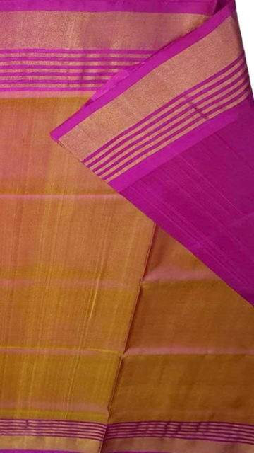 Magenta Magenta and mustard Uppada soft silk saree with striped border