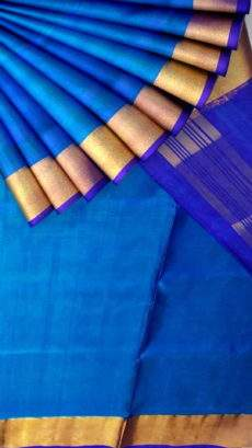 Ananda sky blue and blue Uppada soft silk saree-yespoho