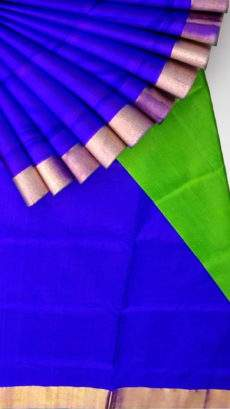 Blue and green Uppada soft silk saree with plain pattern-yespoho