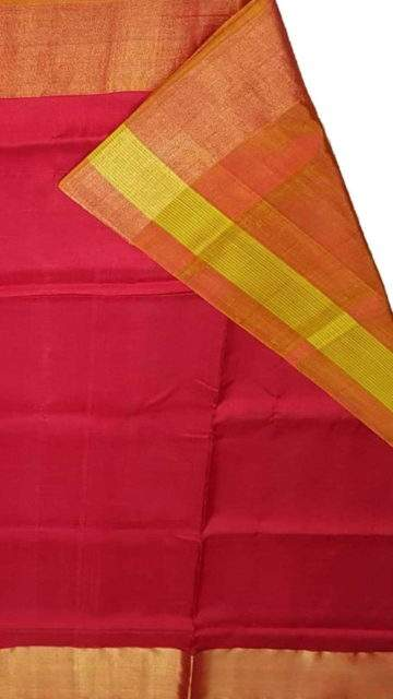 Mustard Mustard and tomato red Uppada soft silk saree