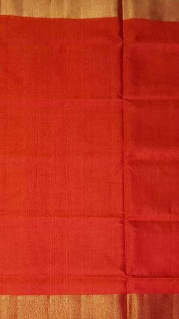 Yespoho Green and tomato red Uppada soft silk saree with plain pallu