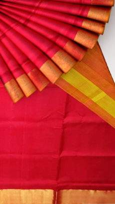Mustard and tomato red Uppada soft silk saree-yespoho