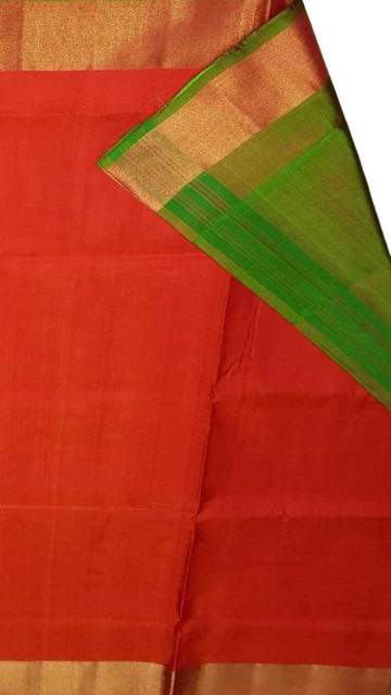 Green Green and tomato red Uppada soft silk saree with plain pallu